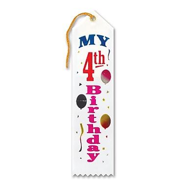 Ruban «My 4th Birthday», 2 x 8 po, 9/paquet