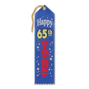Biestle 2 x 8 Happy 65th Birthday Award Ribbon, Blue, 9/Pack