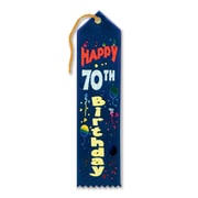 Biestle 2 x 8 Happy 70th Birthday Award Ribbon, Navy Blue, 9/Pack