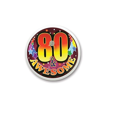 Bouton clignotant « 80 & Awesome », 2 po, 4/paquet