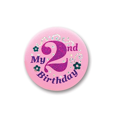 Bouton satiné « My 2nd Birthday », rose, 2 po, 7/paquet