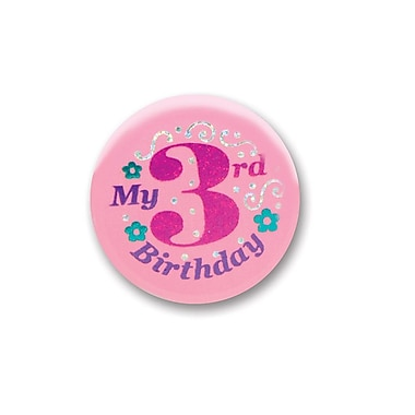 My 3rd Birthday Satin Button, Pink, 2