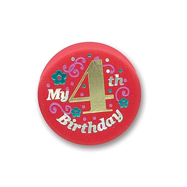 Bouton satiné « My 4th Birthday », rouge, 2 po, 7/paquet