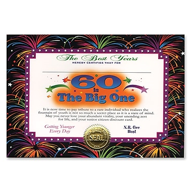 Certificat « 60 Is The Big One », 5 x 7 po, 8/paquet