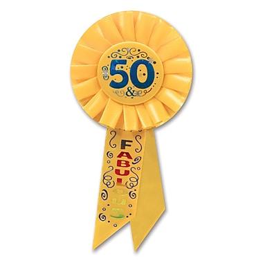 Rosette « 50 & Fabulous », 3 1/4 x 6 1/2 po, 3/paquet