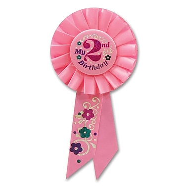 Rosette « Girl's 2nd Birthday », 3 1/4 x 6 1/2 po, 3/paquet