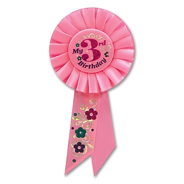 Girl's 3rd Birthday Rosette, 3-1/4