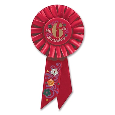 Girl's 6th Birthday Rosette, 3-1/4
