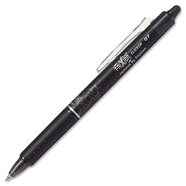 Pilot® FriXion Clicker Retractable Erasable Gel Ink Ball Pen, 0.7 mm, Black