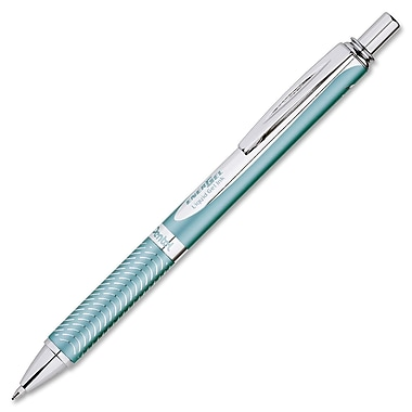 Pentel® EnerGel Alloy Retractable Gel Pen, 0.7 mm, Aquamarine Barrel, Black Ink