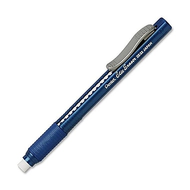Pentel® Clic Eraser with Rubber Grip, Blue Barrel