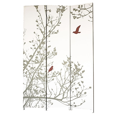 Nexxt – Paravent Bota, oiseau, rouge et taupe, 47 x 71 po
