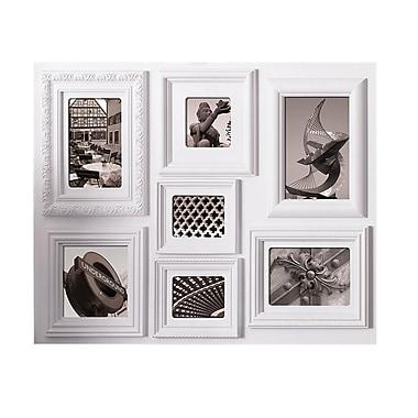 Nexxt – Cadre à collage Fuse à bordures variées pour 7 photos, 18 x 24 x 1 po, blanc