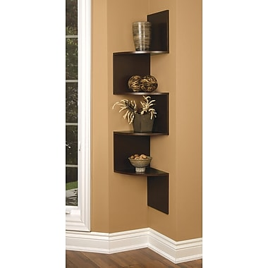 Nexxt Provo Corner Shelf Wood, Walnut, 57'' x 12'' x 12''