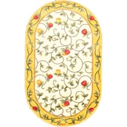 """Anglo Oriental Delight Oval Area Rug, 3'0"""" x 5'0"""", Beige"""