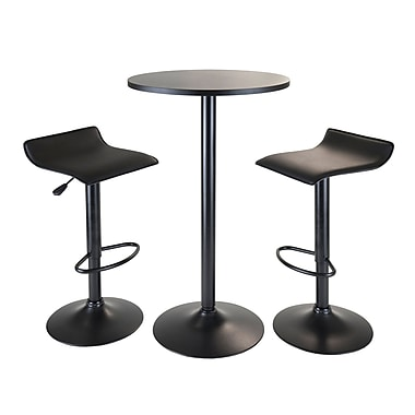 Winsome Obsidian 3-Piece Pub Set Round Table with 2 Airlift Stools, Black