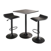 "Winsome® Obsidian 35"" MDF Veneer 3 Piece Square Table Pub Set With 2 Airlift Stools, Black"