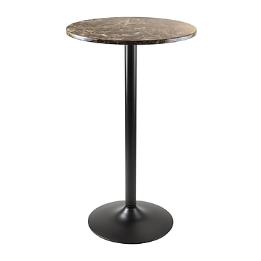Winsome Cora Bar Height Round Pub Table, Faux Marble Top, Black Base
