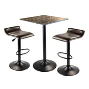 Winsome® Cora 35.43 Faux Marble 3 Piece Square Pub Table Set With 2 Swivel Stools, Black/Espresso