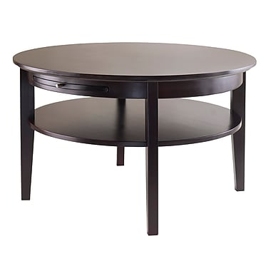 Winsome Amelia Round Coffee Table with Pull Out Tray