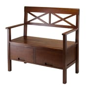 Winsome® Madelyn Wood High Back Bench With 2 Drawers, Antique Walnut