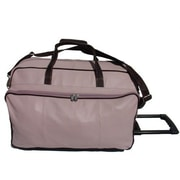 Piel Pastel Leather 21'' 2 Wheeled Carry-On Duffel; Pastel Green w/ Chocolate trim