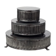 Creative Co-Op Round Metal Pedestal Tiered Stand (Set of 3)