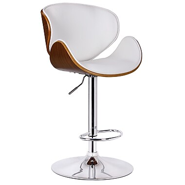 Boraam Osa Adjustable Height Swivel Bar Stool with Cushion; White