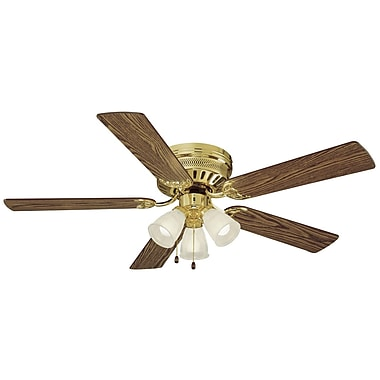 Design House 52'' Mill Bridge 5 Blade Ceiling Fan; Polished Brass with Medium Oak / Walnut Blade