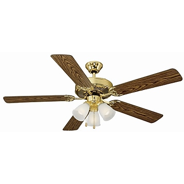 Design House 52'' Mill Bridge 5 Blade Ceiling Fan; Polished Brass with Medium Oak/ Walnut Blade