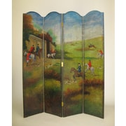 Wayborn 64'' x 72'' Hunting in the English Country 4 Panel Room Divider