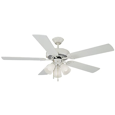 Design House 52'' Millbridge 5 Blade Ceiling Fan; White with Bleached Oaker White Blade