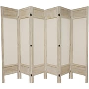 Oriental Furniture 67'' Tall Solid Frame Fabric 6 Panel Room Divider; White