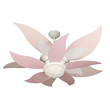 Craftmade 52'' Bloom 10 Blade Ceiling Fan with Remote; White with Pink Blades