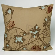 Kevin O'Brien Studio Hydrangea Embellished Throw Pillow; Camel