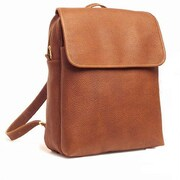 Aston Leather Large Backpack with Top Zipper; Black