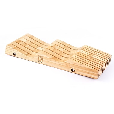 Cook N Home Bamboo In-Drawer Knife Block