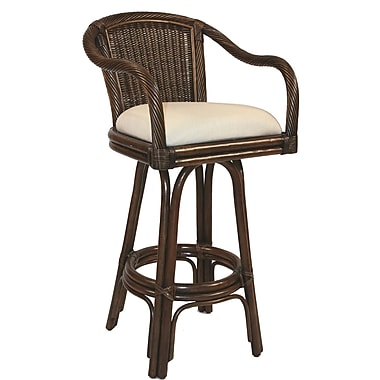 Hospitality Rattan Key West 30'' Swivel Bar Stool with Cushion; Seaworthy Blue