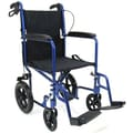 Karman Healthcare 19'' Ultra Lightweight Transport Wheelchair with Hand Brake; Blue