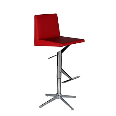 Bellini Modern Living Ethan Adjustable Height Swivel Bar Stool with Cushion; Red