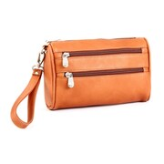 Le Donne Leather Two Zip Clutch  Wristlet Bag; Tan
