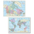 Universal Map Rolled Map - Laminated; Canada/World Combo