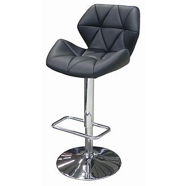 Whiteline Imports Aaron Adjustable Height Swivel Bar Stool with Cushion; Black