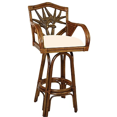 Hospitality Rattan Cancun Palm 24'' Swivel Bar Stool; Hampton