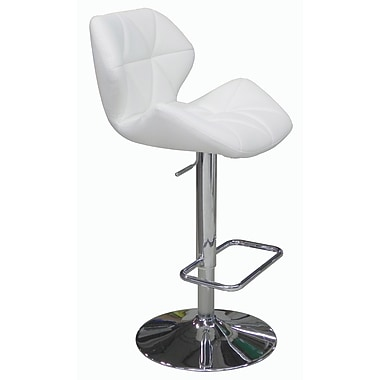 Whiteline Imports Aaron Adjustable Bar Stool with Cushion; White