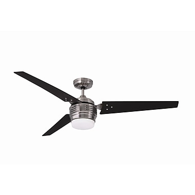 Emerson Fans 60'' 4th Avenue 3 Blade Ceiling Fan; Brushed Steel with Chocolate Blades