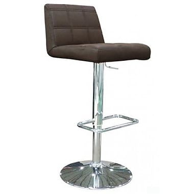 Whiteline Imports Karen Adjustable Bar Stool with Cushion; Chocolate