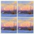 McGowan Tuftop Van Zyle Moose and Cabin Coasters (Set of 4)