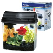 Aqueon 1 Gallon MiniBow Desktop Aquarium Kit; Black