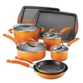 Rachael Ray Porcelain II Nonstick 12-Piece Cookware Set; Orange Gradient